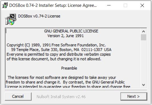 DOS Box Install License